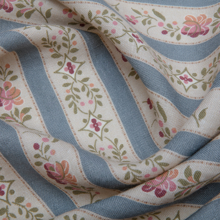 Beauclerc Stripe Wide Aged Linen/Wedgewood
