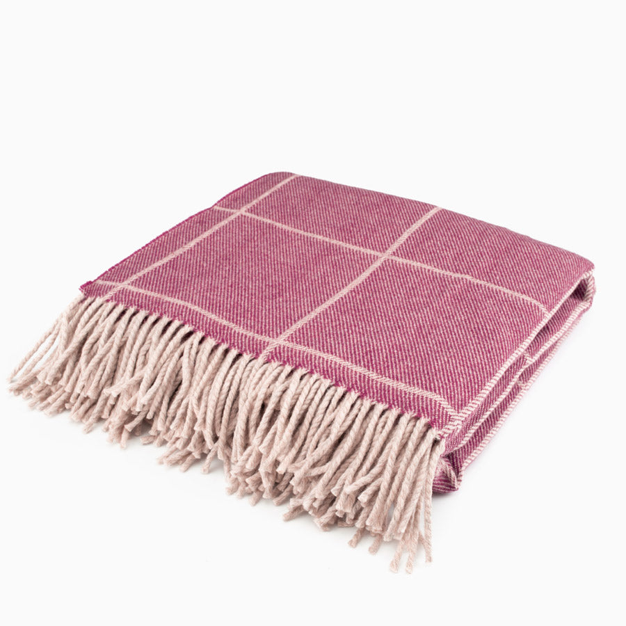 The Inchyra Scottish Wool Throw in Cranberry
