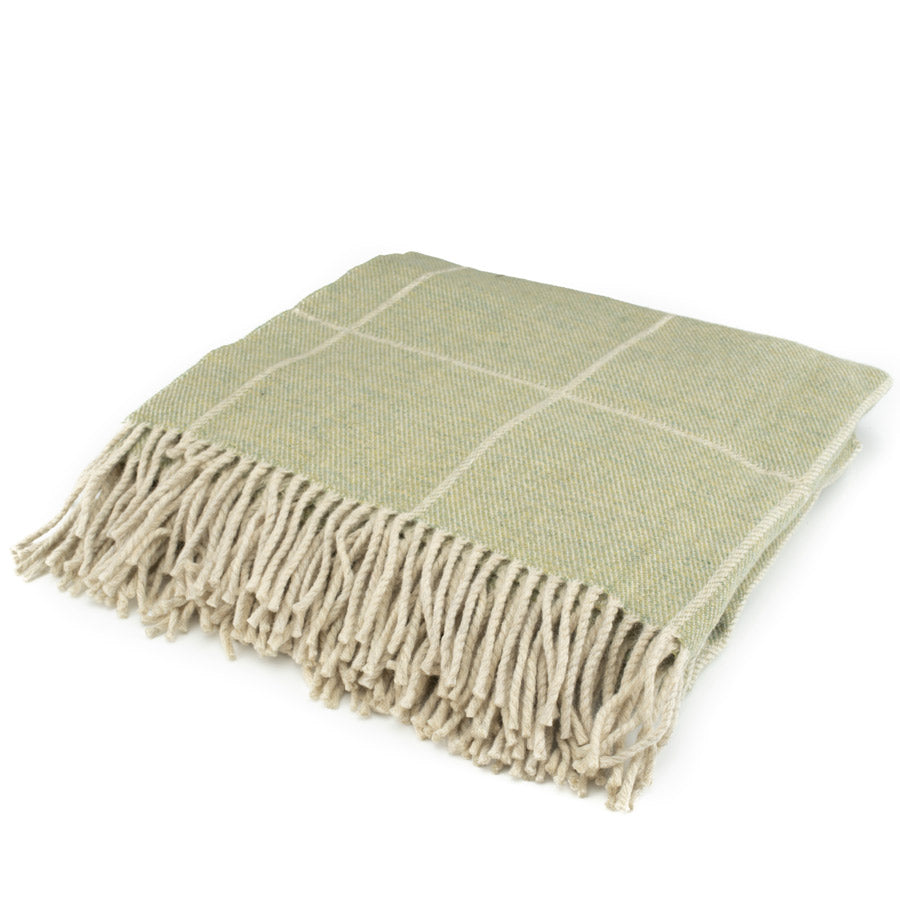 The Inchyra Scottish Wool Throw in Sage