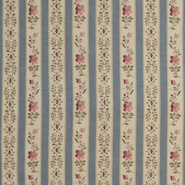 Beauclerc Stripe Wide Aged Linen/Wedgewood (Swatch)