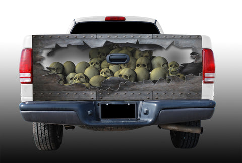 Skulls With Torn Metal Tailgate Wrap