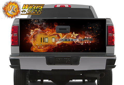 Flaming Guitar Tailgate Wrap