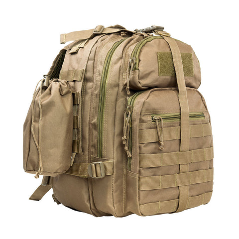 Front angle view of the McStar tan sling backpack