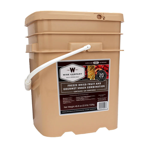 Wise Foods freeze-dried fruit and snack bucket - 120 servings