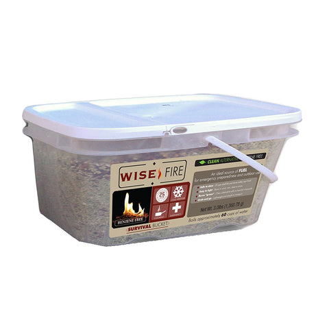 A 1 gallon bucket of WiseFire fuel source by Wise Foods