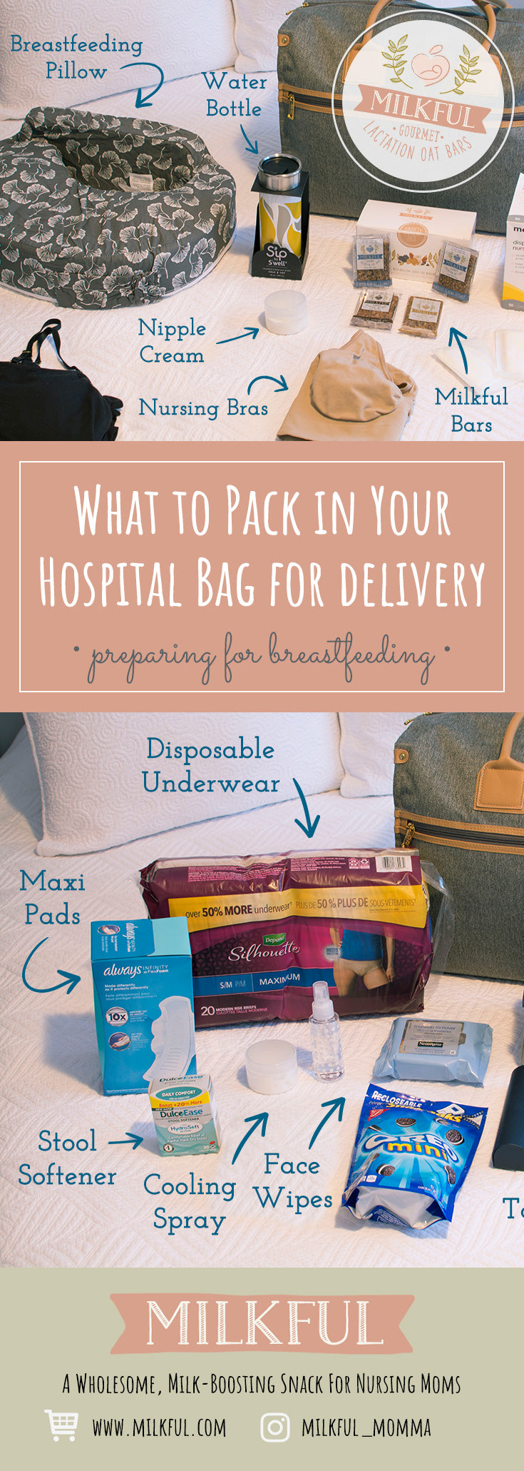 What to Pack in Your Hospital Bag: Preparing for Breastfeeding. See a comprehensive list of items including: comfort items, practical items, items for baby, what to wear and items to care for your body.