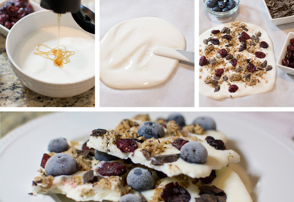 Line a baking tray with parchment paper. In a bowl, mix together the honey and greek yogurt. Spread the yogurt over the parchment paper in a square shape. Crumble one Blueberry Almond Coconut bar and add the cranberries, blueberries and chocolate chips. Place in the freezer for 2-4 hours until the yogurt is frozen. Remove from the freezer and cut into individual pieces. You can store your bark in the freezer for up to two weeks. #breastfeedingrecipes #boostmilksupply #bfrecipes