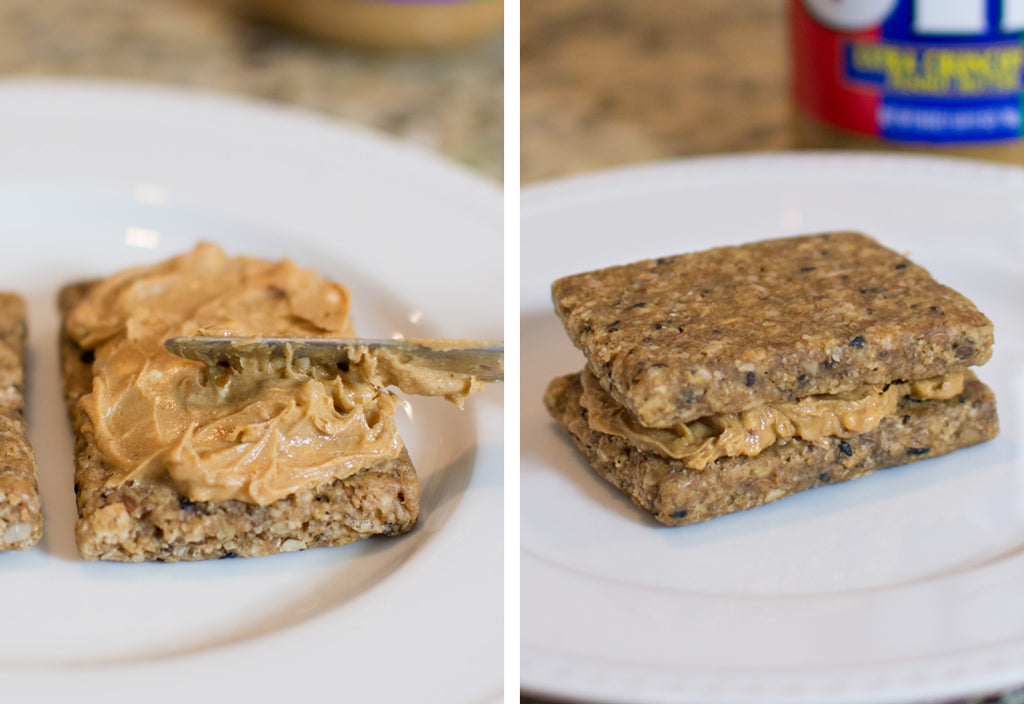 Spread peanut butter or almond butter between two Maple Walnut bars and stack. #breastfeedingrecipes #boostmilksupply #bfrecipes