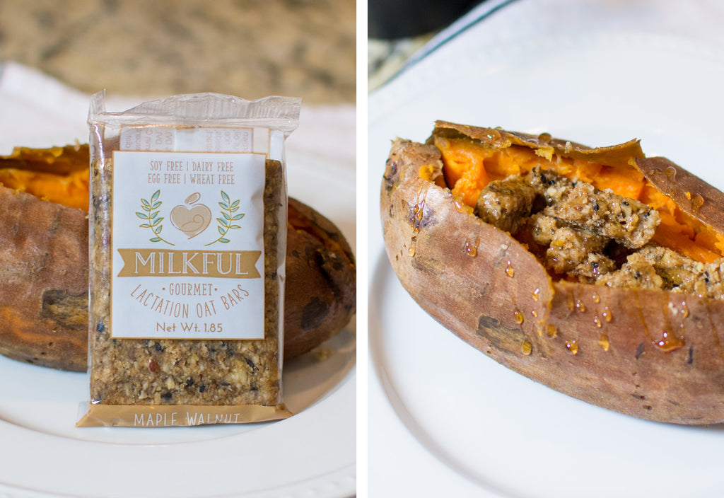 Preheat your oven to 400 degrees. Wash a sweet potato and stab a fork around the potato to allow for ventilation. Wrap in foil and place in oven between 30-45 minutes or until you can easily cut the sweet potato with a knife. Remove from foil and top with a crumbled Maple Walnut bar, brown sugar and honey. #breastfeedingrecipes #boostmilksupply #bfrecipes