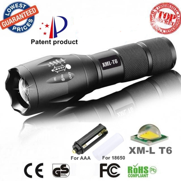 Waterproof Zoomable Torch - XM-L T6 2000 - Super Bright LED Flashlight