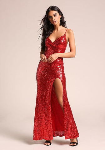Red Sequin High Slit Maxi Gown
