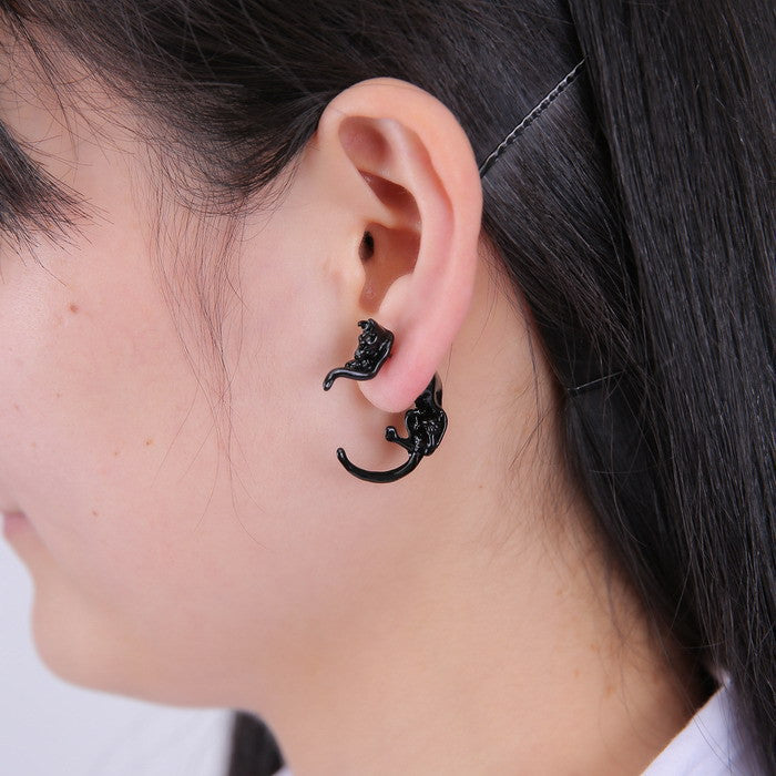 Cute black cat earrings