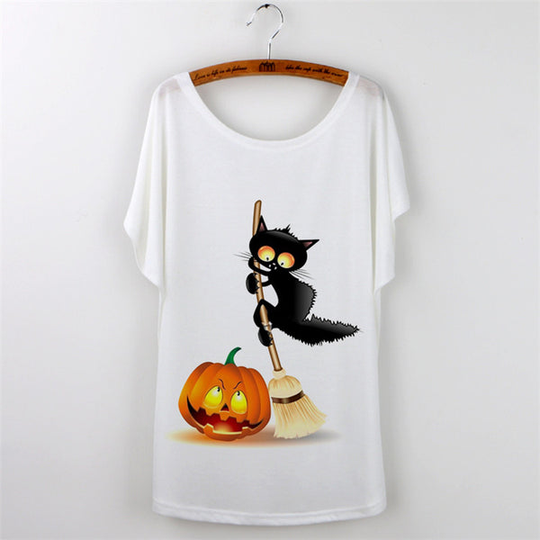 White T-shirt with Black Cat For Women