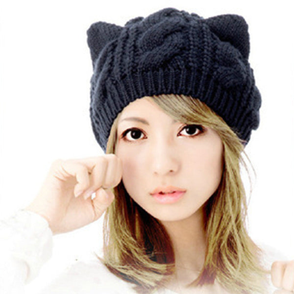 2017 Kitty Cat Hand Knitted Cap - Knitted Cat Ear Beanie - Blue Cat Ear Beanie