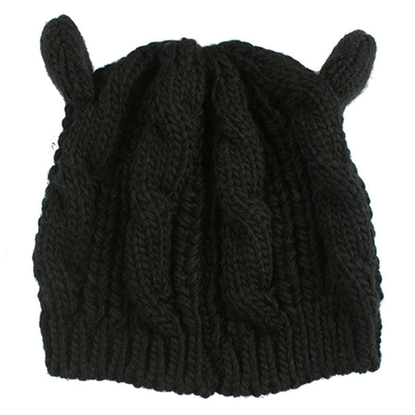 2017 Kitty Cat Hand Knitted Cap - Knitted Cat Ear Beanie - Black Cat Ear Beanie