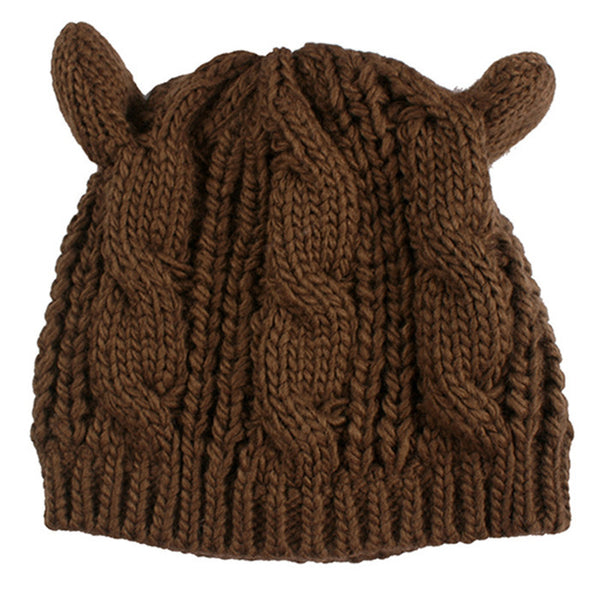 2017 Kitty Cat Hand Knitted Cap - Knitted Cat Ear Beanie - Brown Cat Ear Beanie