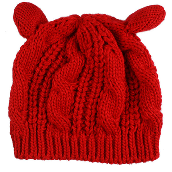 2017 Kitty Cat Hand Knitted Cap - Knitted Cat Ear Beanie - Red Cat Ear Beanie