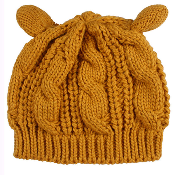 2017 Kitty Cat Hand Knitted Cap - Knitted Cat Ear Beanie - Yellow Cat Ear Beanie