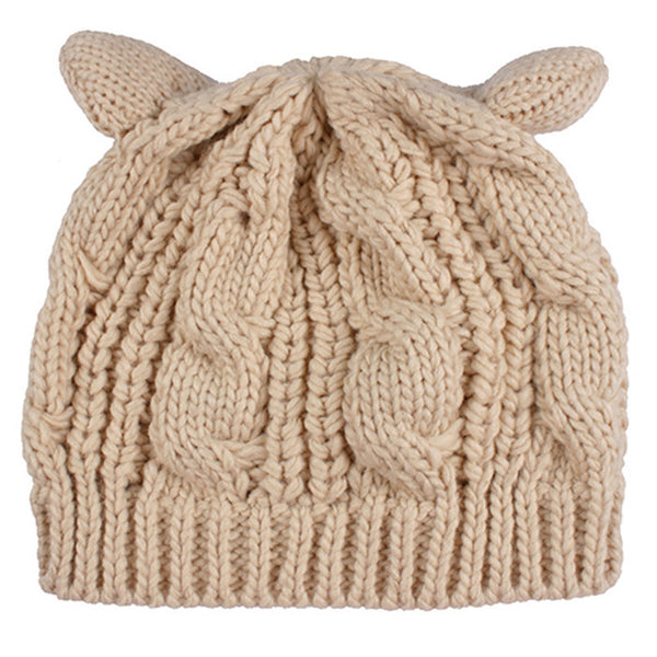 2017 Kitty Cat Hand Knitted Cap - Knitted Cat Ear Beanie - Tan Cat Ear Beanie