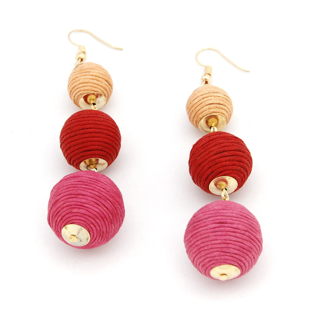 Women's Thread Ball Drop Earrings