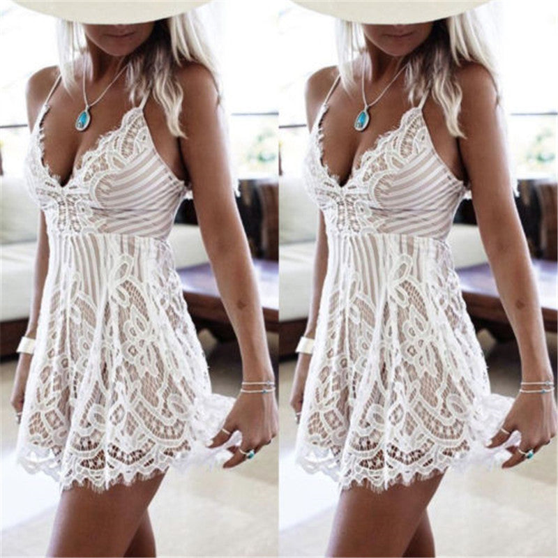 Sexy Women Summer Sleeveless Lace Dress