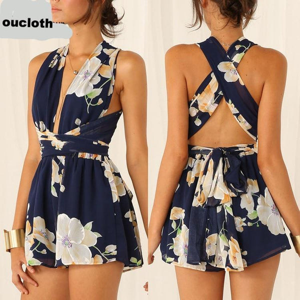 Navy Summer Floral Print Deep V Neck Crossover Rompers