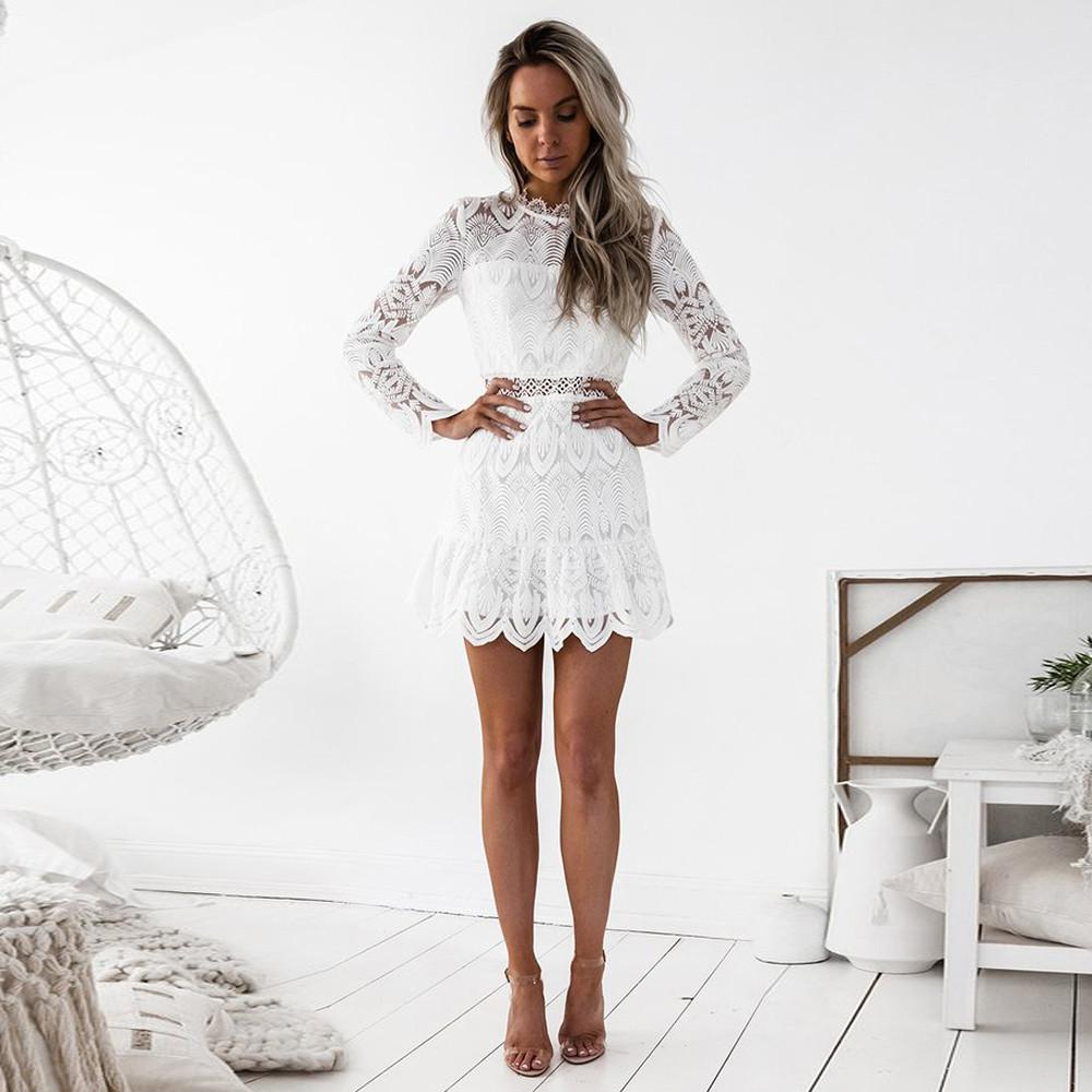 Long Sleeve Lace Party Mini Dress