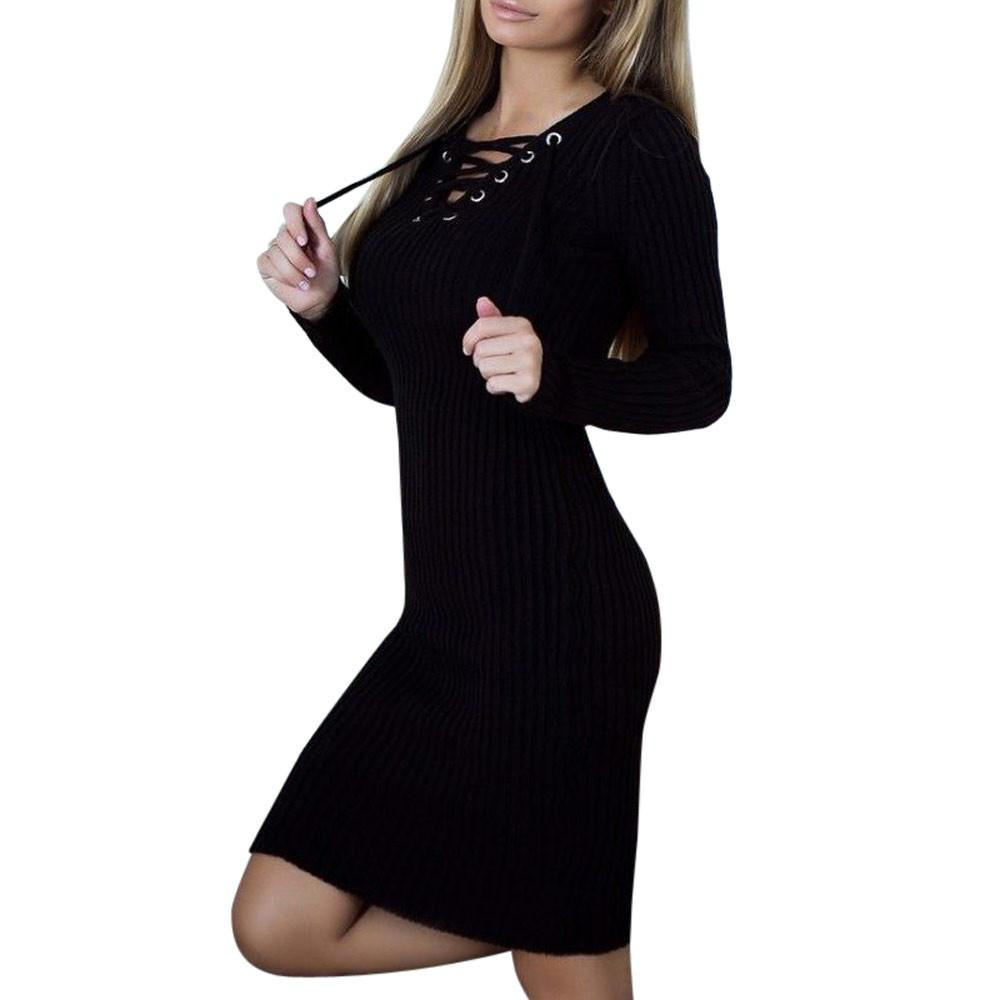 Knitted V-Neck Long Sleeve Stretchy Sweater Dress