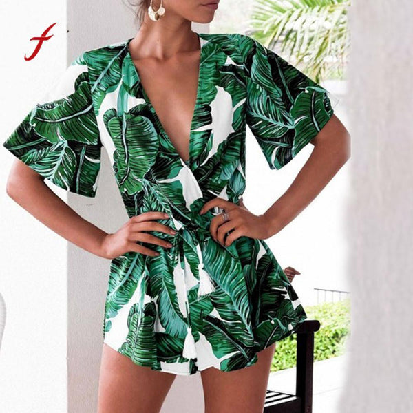 Summer Leaves Print Romper