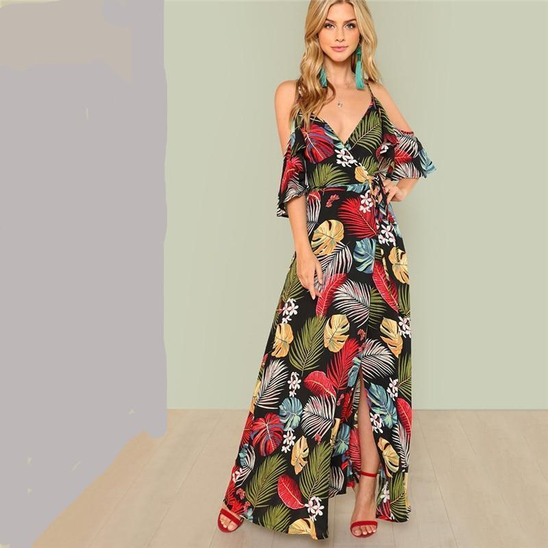 Floral Print Sexy Deep V Neck Open Shoulder Maxi Dress