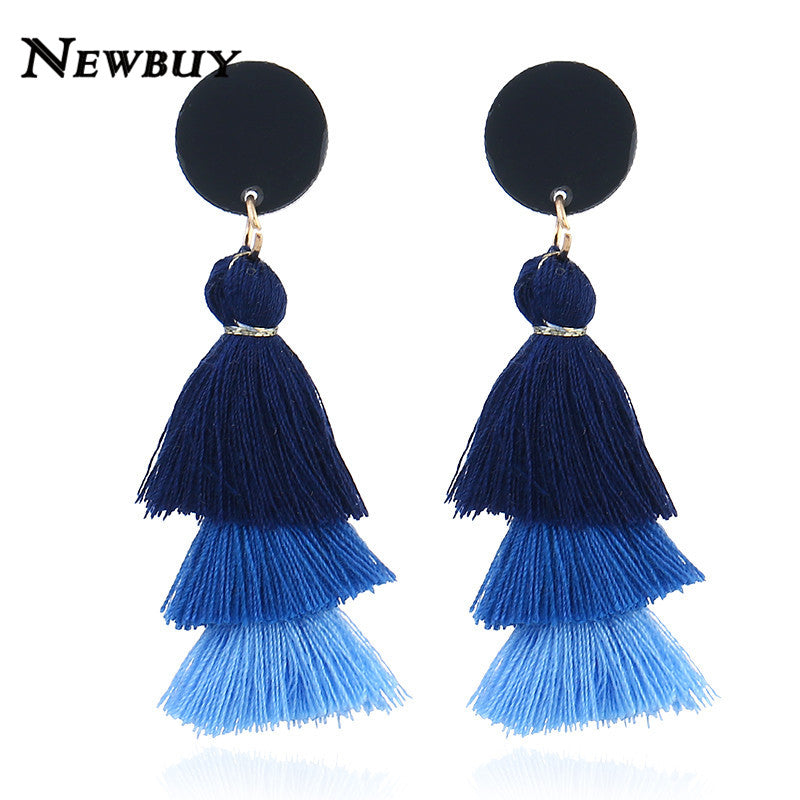 Tree Shape Long Tassel  Earrings