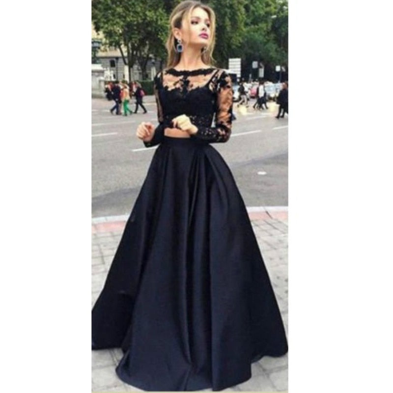 Black two-piece Long Sleeve dress