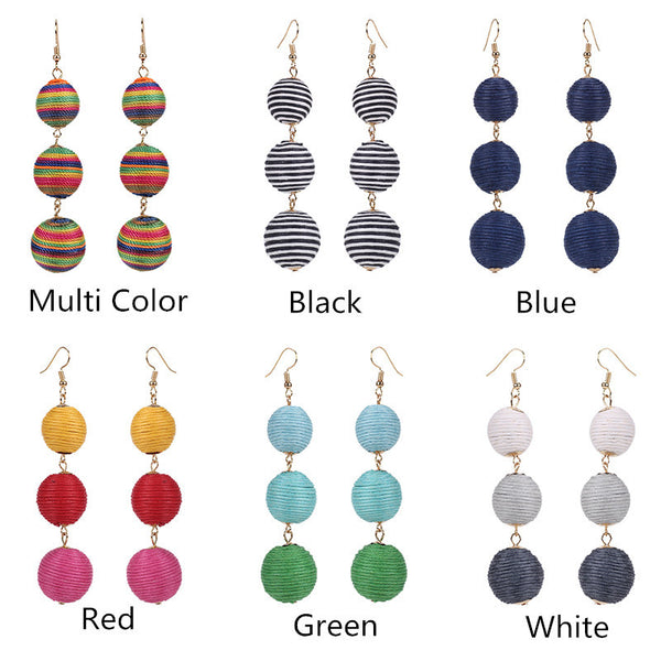 Silk Thread Ball Dangle Earrings