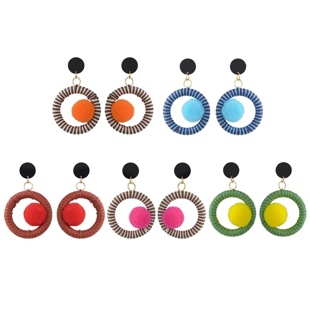 Pom Pom Ball Acrylic Thread  drop Earring