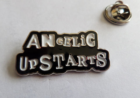 ANGELIC UPSTARTS (black) PUNK METAL BADGE