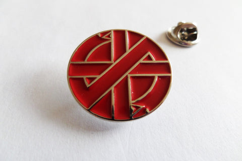 CRASS serpent RED ANARCHO PUNK METAL BADGE
