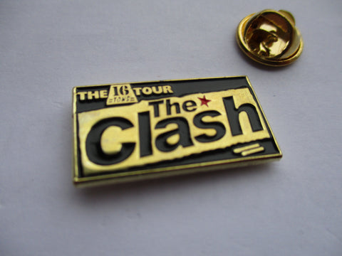 THE CLASH 16 tons (gold/black) PUNK METAL BADGE few only