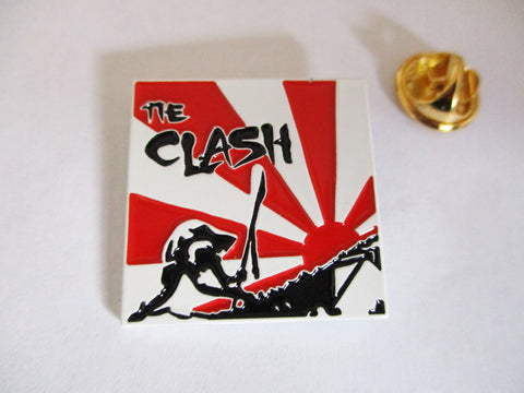 THE CLASH japan calling punk metal badge (White)