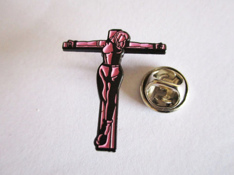 CRUCIFIED SKINGIRL pink OI! SKA PUNK METAL BADGE