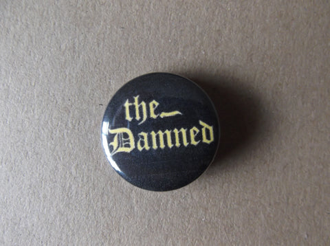 THE DAMNED (yellow logo) punk badge - Savage Amusement