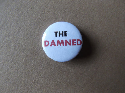 THE DAMNED black/red logo punk badge