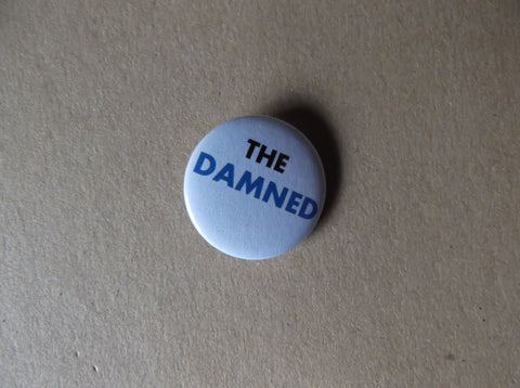 THE DAMNED black/blue logo punk badge - Savage Amusement