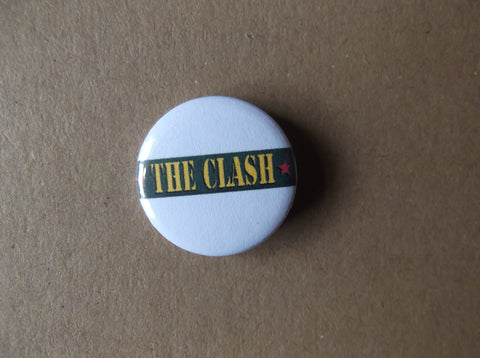 THE CLASH punk badge (VARIOUS DESIGNS 50p each)
