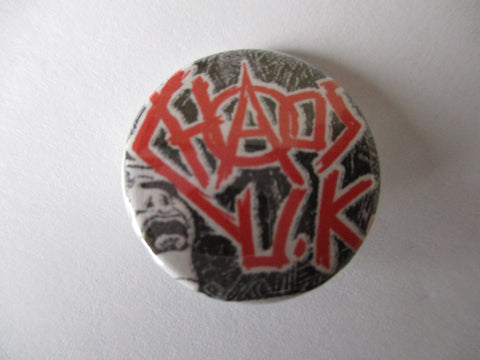 CHAOS UK burning britain punk badge