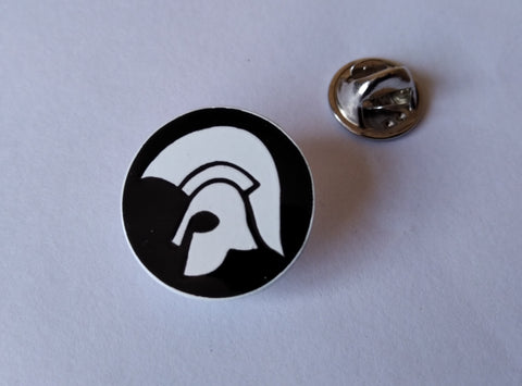 TROJAN HELMET small b&w embossed SKA METAL BADGE oi! skinhead