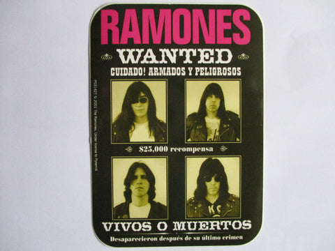 THE RAMONES wanted PUNK VINYL STICKER