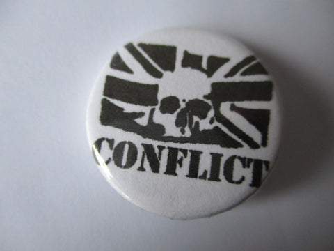CONFLICT punk badge (VARIOUS DESIGNS - 50p each)