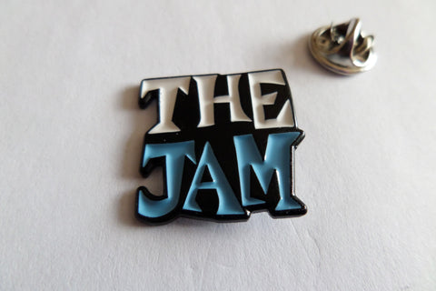 THE JAM all mod cons logo (black/sky blue/white) PUNK MOD METAL BADGE weller