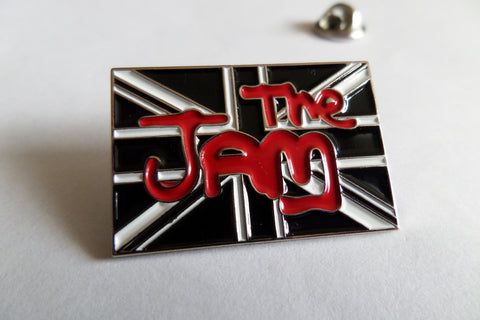 THE JAM union jack B&W/silver PUNK MOD METAL BADGE weller