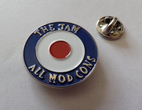 THE JAM all mod cons (silver) PUNK MOD METAL BADGE weller